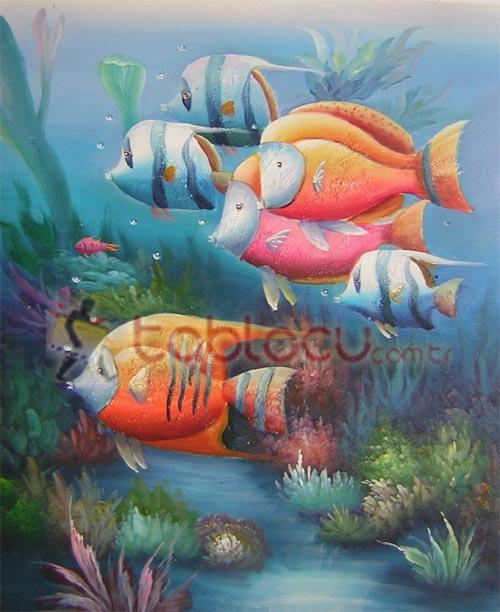 Akvaryum deniz tablo ya l boya tablo tablocu com for Sea life paintings artists