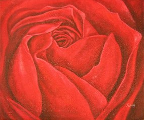 Deep Red Rose yağlı boya tablo