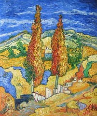 Two poplars at a way through the hills - Van Gogh yağlı boya tablo