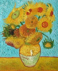 Vase With Twelve Sunflowers - Van Gogh yağlı boya tablo